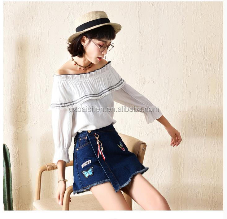 Anti exposure denim skirt New Design Summer Printed Denim Pant Skirt Blue hort Jean Skirts