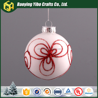 Hollow red flower insied glass white ball