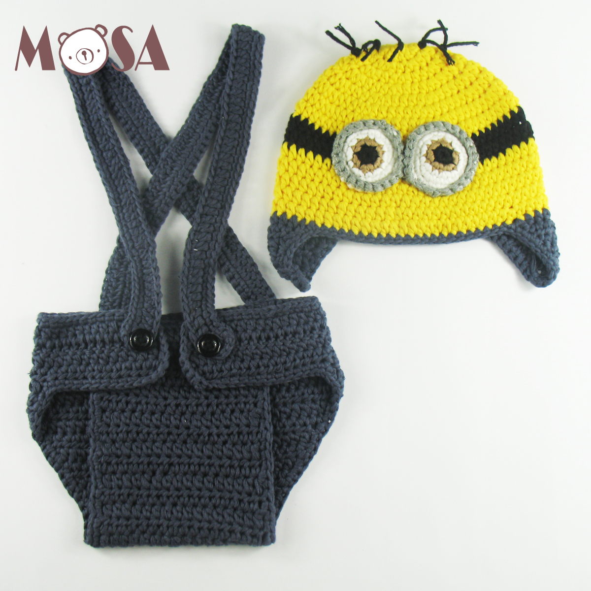 Wholesale Crochet Newborn Boy Girl Minion Beanie and Suspender Diaper Cover Set Baby Shower Gift Photo Props Blue Pink