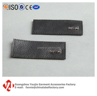 China Label Leather Making,Black,Embossed Logo for Garment