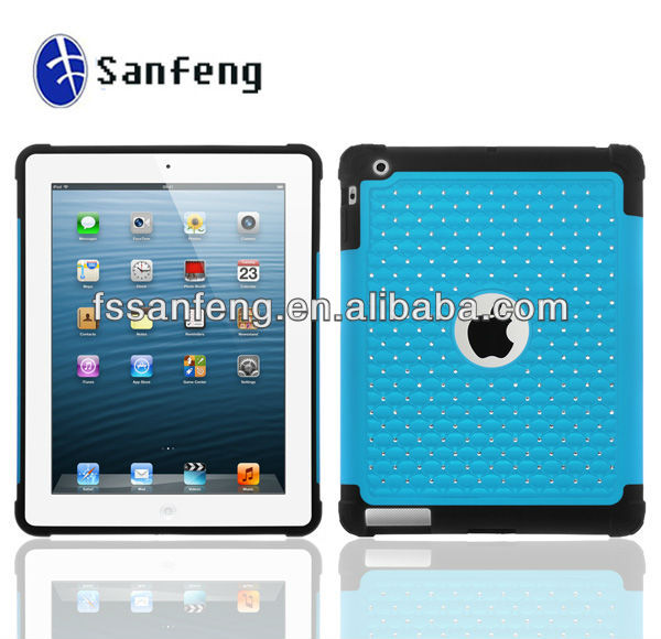 2013 New Products Glittering Studded Diamond Case for ipad 2,High Impact Combo Case for ipad 2 Case