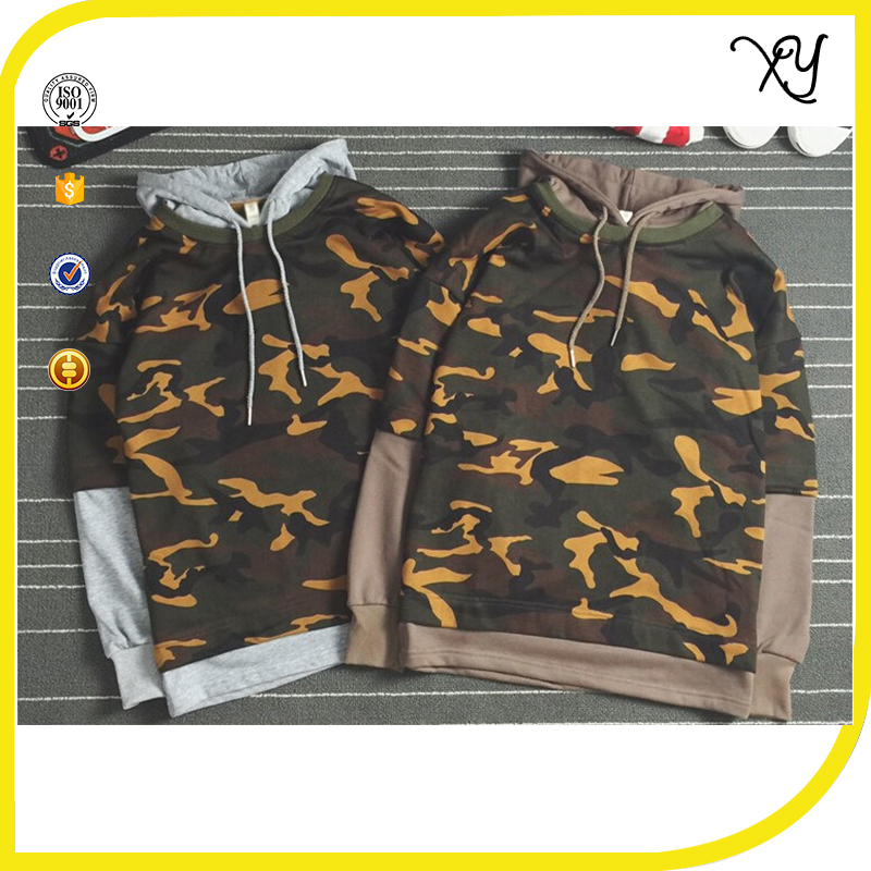 2017 Hip Hop Clothing 100% cotton Hoodie Fake Two Piece Camo T-shirt