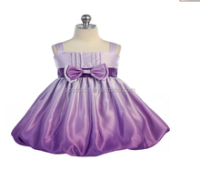 Customized Child Satin Frocks Designs Kids Party Dresses Wholesale Flower Girls Purple Dress For Party