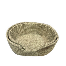 handmade stitched oval natrual cotton rope pet basket for cat / dog