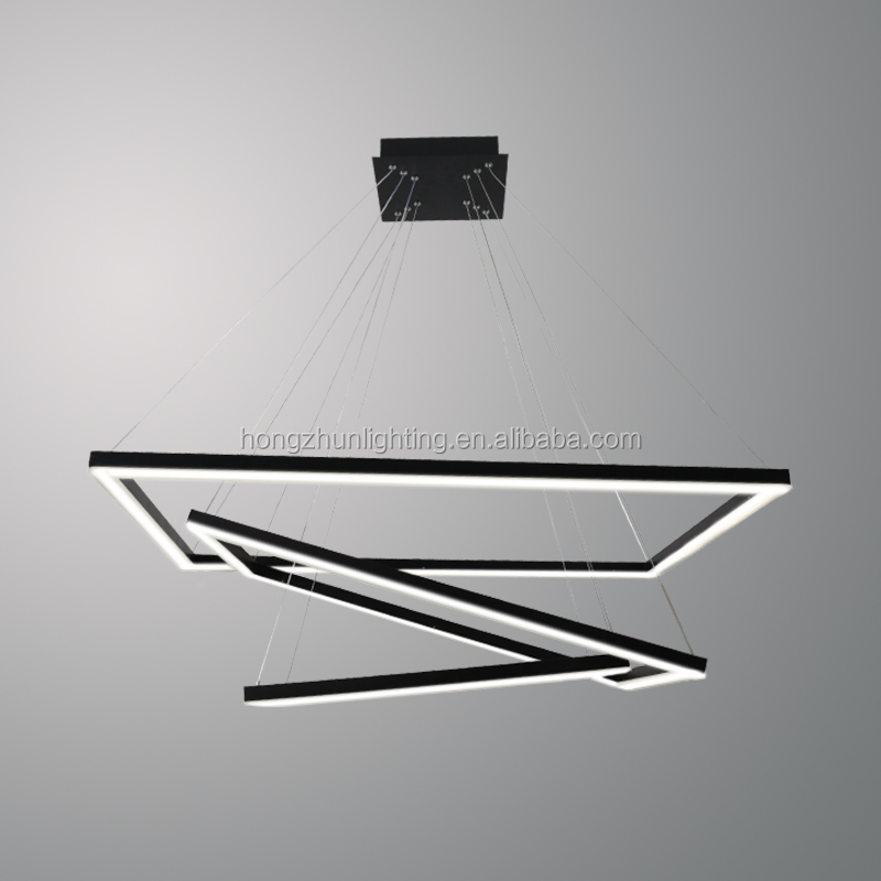 <strong>Modern</strong> Vintage Pendant Light Black Iron Square <strong>Modern</strong> Lamp LED Hang Lamp Suspension Chandelier