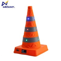 Retractable portable orange safety warning flashing traffic cone