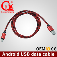 excellence quality classic red and black nylon braided phone charging cable