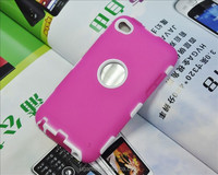 For ipod touch 4 3 in1 hybird robot grain phone case; silicon case for ipod touch4,cute 3d pc case for ipod touch 4