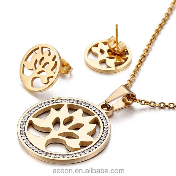 Yiwu Aceon Stainless Steel Gold Women Jewelry Stone Tree Hot Sale Family Jewelry Set