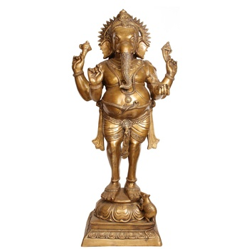 factory promotional bronze sculpture life size indian standing ganesh statue for outdoor garden decor