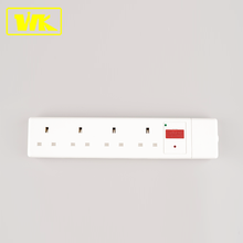 Fused 13A 4 Gang Power Extension Socket with Shutter & UK Fused Plug