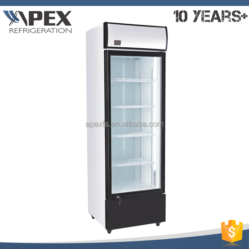 New goods 220V/50Hz prepainted aluminum glass display showcase drink fridge with self-closing door