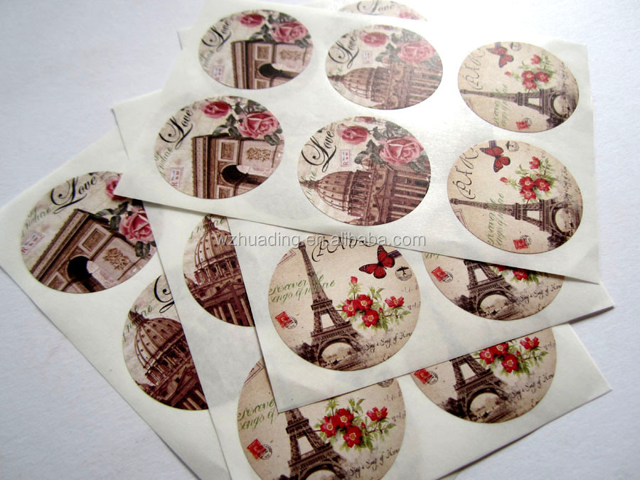 wholesale self-adhesive multicolour pattern roll bottle sticker label ,Vintage Style paper sticker