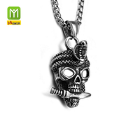 Cheap Cobra Stainless Steel Skulls Knife Jewelry Titanium Mens Chain Pendant Necklace