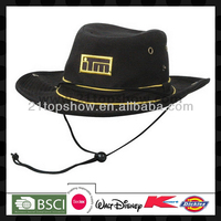 Logo embroidered cheap felt black cowboy hat
