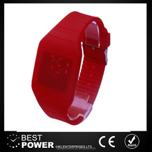 Hot selling sport silicone touch screen LED watch red light watch