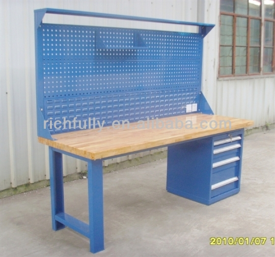 Houten Keuken Werktafel : Industrial Workbenches with Drawers