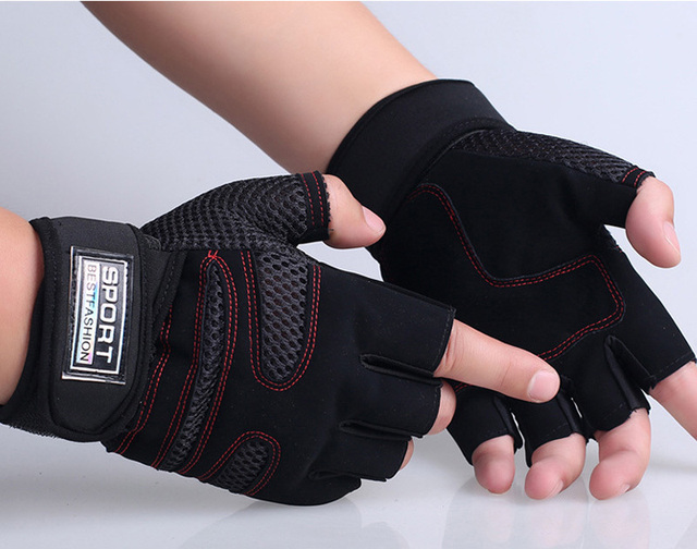 1 Pair A34 Weight Lifting  Gloves Workout Wrist Wrap Sports Exercise Training Fitness Gloves Gym