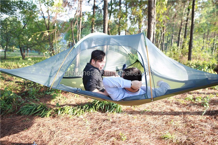 Free shipping green camouflage 2 persons stretch tent ultra light tree tent