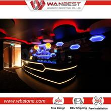 wanbest solid surface sushi wooden furniture seamless joint acrylic led bar counters