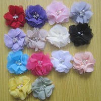 China yiwu factory wholesale price cheap kids boutique flower accessories hair felt flower handmade DIY material flower 14 color