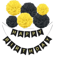 Paper Pom Poms flowers Ball with Hanging Party Decorations Banner flags Black Happy Birthday Banner Bunting