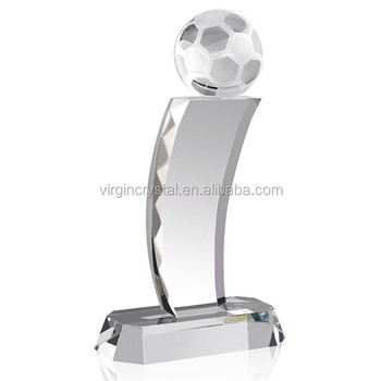 Unique crystal football trophy on crystal stand