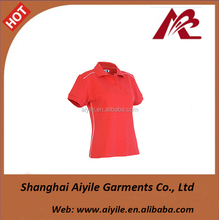Blank Red Womens Polo T Shirts Factory Made Logo Customized