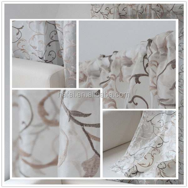 High quality hot-sale organza embroidered curtain
