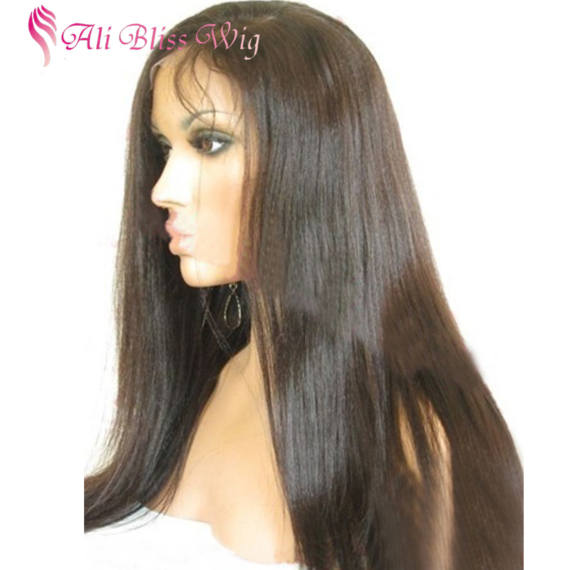 Long Natural Color Straight Human Hair Wig Hand Tied Crochet Silky Straight Full Lace Wigs with Baby Hair for African American