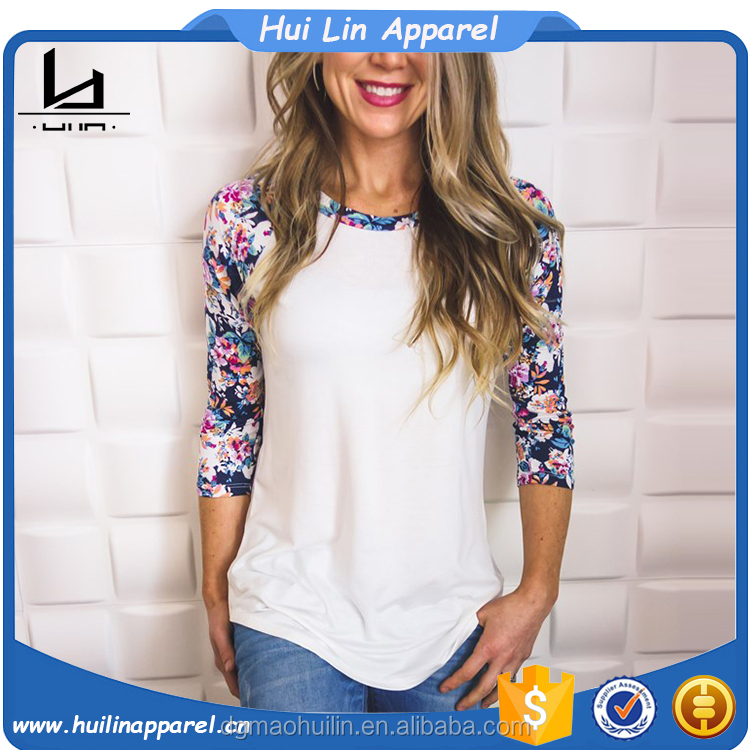 new styles ladies shirt custom design curved hem 3/4 sleeve contrast raglan floral t shirt