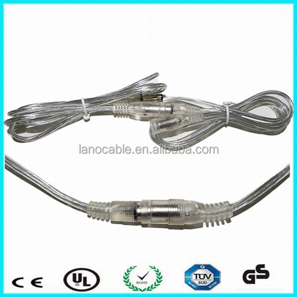 Wholesale cheapest price 2m 18awg 5521 transparent female to male dc cable