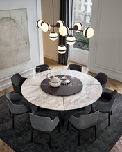 Modern Marble Top Sold Wood Legs Round Dining Table With Turntable