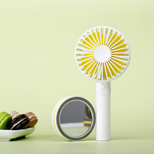 Fashion Promotional Chargeable Pocket Hand Desk Mirror Fan with Mirror Base