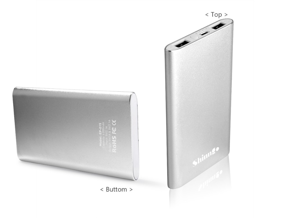 Ultra slim external battery mobile power bank EP015 less than 10 mm thin only weigh 4.23oz 4000mah bank power