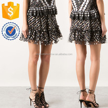 Grey And White Dots Embroidered Thin Black Fishnet Short Skirt Manufacture Wholesale Women Fashion Apparel (TF0015K)
