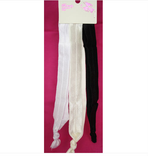 Godbead Nylon ribbon headband 3pc set WHITE CREAM BLACK stretchy flat wide soft no metal