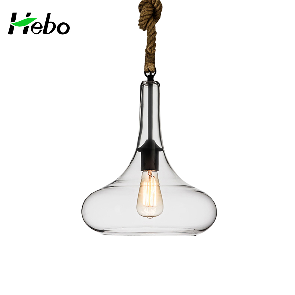 2017 adjustable hot sell chandelier clear glass shade and rope pendant lamp