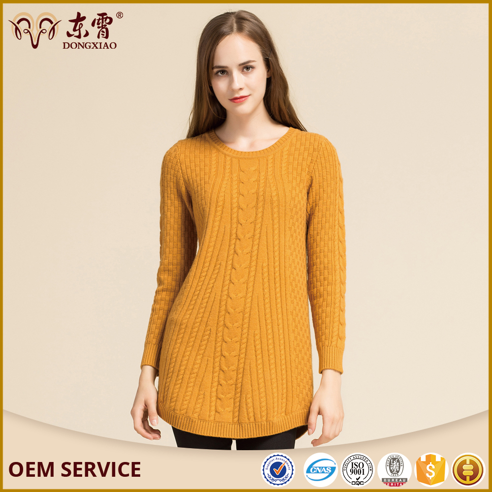 100%high quality and low price round neck knitted wool sweater for women