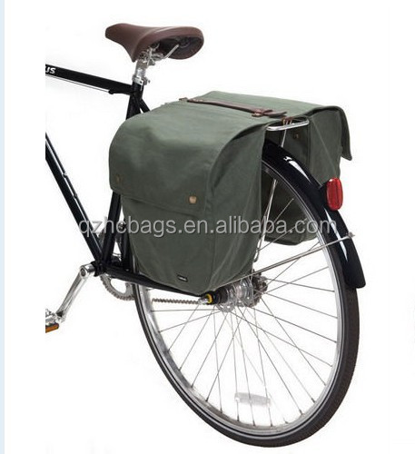 Waterproof Repellency Waxed Canvas Bike Bag Bicycle Double Bag (ESC-BB012)