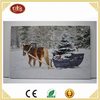 Horse Wall Led Light Canvas Painting,Winter scenery Light Up Canvas