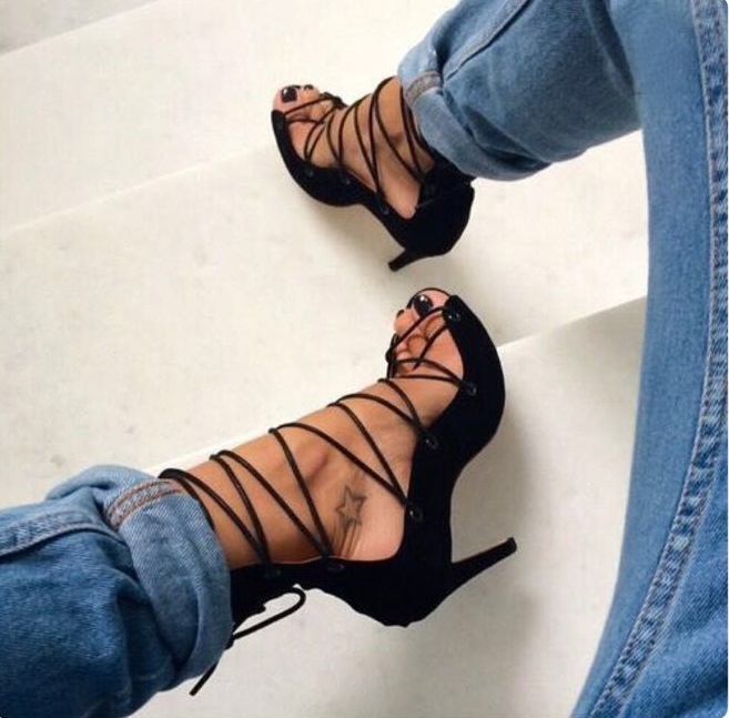Summer Fashion Woman Sexy Black Ribbon Night Club <strong>Sandals</strong> Ladies Hollow Out Holes Suede Stiletto High Heel Shoes