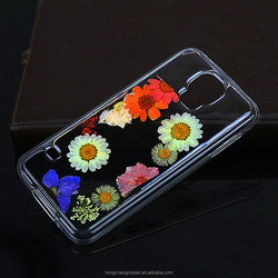 For Samsung Galaxy S5 Epoxy Crystal Clear Resin Real Pressed Flower Phone Case