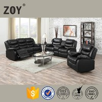 ZOY Black Drawing Room Recliner Motion Sofa Set 93935