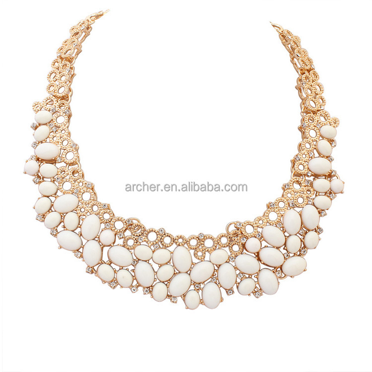 Australia 2016 trendy cheap newest artificial plastic stone design antique gold long chain imitation jewelry necklace ,gold jewe