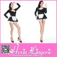 Plu size black and white dress satin french maid costume