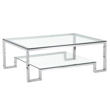 Modern glass and stainless steel legs coffee table