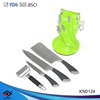 New designed kitchen knife set with steel head handle in green block