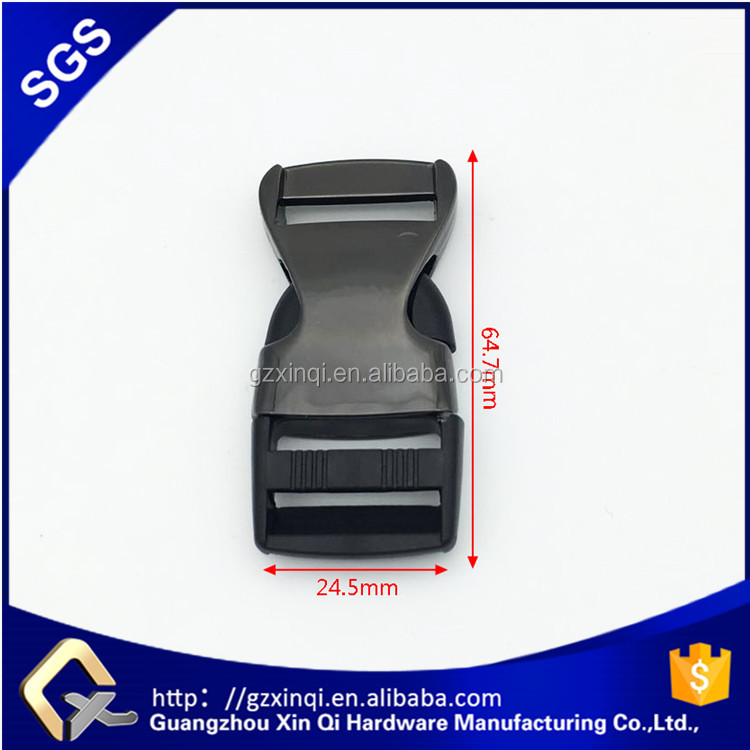 25mm Black plastic <strong>buckle</strong> with zinc alloy parts for backpack