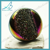 Flat back rainbow colored natural druzy quartz beads